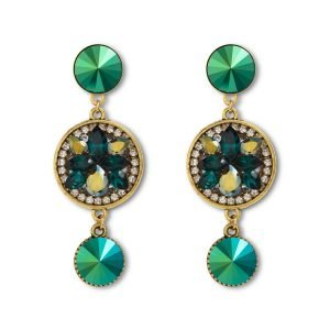 Long Scarabaeus Green Earrings