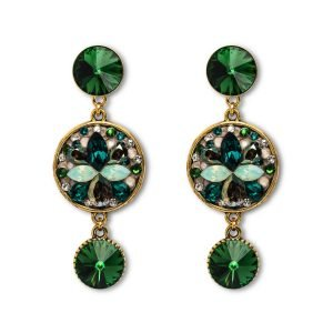Long Dark Green Earrings
